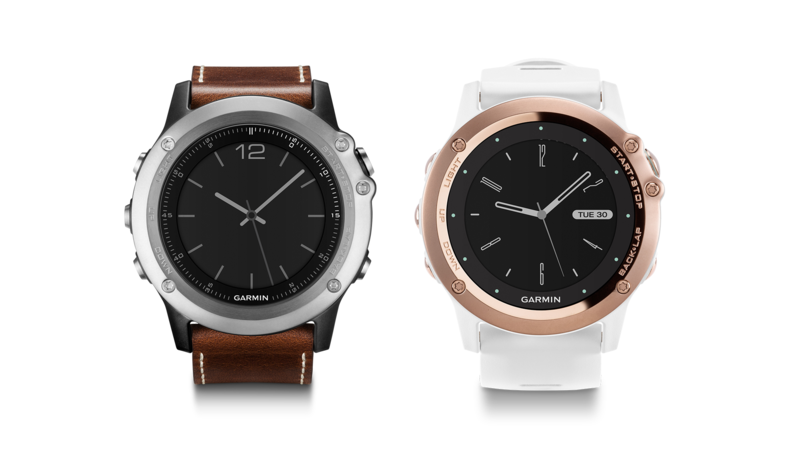 fēnix® 3 Sapphire Silver with Leather Band and Sapphire Rose Gold